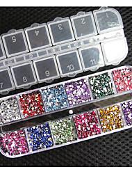 2 milímetros 12 cores rodada acrílico rhinestone perfeito para decoração de arte 3d unha