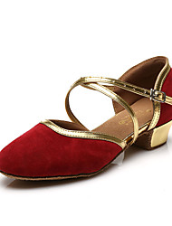 Customizable Women's/Kids' Dance Shoes for Latin/Salsa with Chunky Heel Glitter/Red-Gold/Black-Gold/Blue-Gold