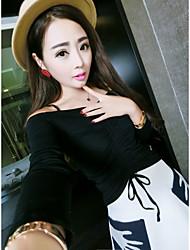 Tee-shirt Femme,Couleur Pleine Décontracté / Quotidien Sexy Printemps Manches Longues Epaules Dénudées Coton Opaque