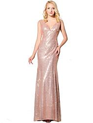 Sirène / trompette v-neck longueur au sol robe de soirée formée en pailletée avec paillettes