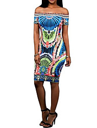 Gaine Robe Femme SortieFleur Bateau Au dessus du genou Manches Courtes Polyester Eté Taille Normale Micro-élastique Moyen