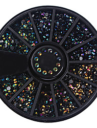 1 коробка черные блестящие ногти rhinestones 3d украшения ногтей в колесо плоские дно маникюр DIY аксессуары для ногтей аксессуары