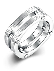 Concise Silver Color Titanium Steel Eternity Band Wedding Ring Jewellery for Women Accessiories