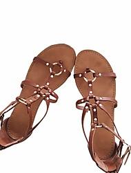Женские сандалии весна комфорт пу случайные коричневый