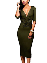 Women's Casual/Daily Club Holiday Sexy Simple Street chic  Multi-way Ruched Bodycon DressSolid Deep V Midi  Length Sleeve Spring Fall High Rise