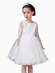 Ball Gown Short / Mini Flower Girl Dress - Organza Jewel with Appliques Bow(s) Lace
