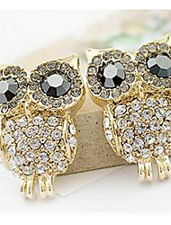Delicate And Full Drill The Owl Earrings Han Edition Bright drill Earrings Personality Girl Diamond Earrings