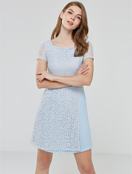 Dentelle Robe Femme Sortie Mignon,Couleur Pleine Col Carré Mi-long Manches Courtes Bleu Autres Eté Taille Normale Micro-élastique