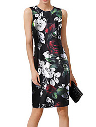 Women's Going out Casual/Daily Work Sexy Simple Chinoiserie Bodycon Dress,Print Round Neck Knee-length Sleeveless Others Summer Mid Rise