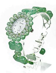Femme Montre Tendance Quartz Vert de Jade Bande Vert