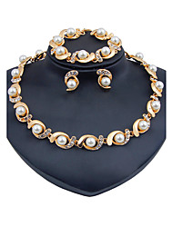 Набор украшений Искусственный жемчуг Мода Euramerican Классика Искусственный жемчуг Стразы Овальной формы Золотой1 ожерелье 1 пара