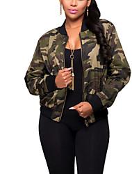 Для женщин Спорт На выход На каждый день Весна Осень Куртка Круглый вырез,Активный Уличный стиль камуфляж Обычная Длинный рукав,Полиэстер