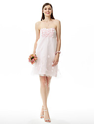 A-Line Princess Strapless Knee Length Satin Tulle Bridesmaid Dress with Flower(s) by LAN TING BRIDE®