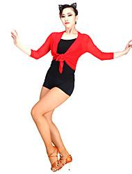 Dança Latina Blusas Mulheres Actuação Náilon Chinês Tule 1 Peça Luva de comprimento de 3/4 Blusa