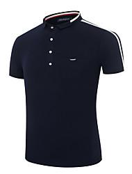 Herren Solide Retro Einfach Ausgehen Lässig/Alltäglich Übergröße T-shirt,Peter Pan-Kragen Sommer Kurzarm Baumwolle Mittel