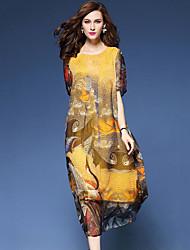 Ample Robe Femme Sortie Plage Chic de Rue Chinoiserie,Imprimé Col Arrondi Midi Manches Courtes Soie Eté Taille Normale Non Elastique Fin