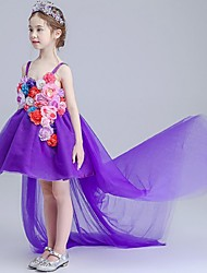 Ball Gown Asymmetrical Flower Girl Dress - Organza Spaghetti Straps with Appliques Flower(s) Ruching