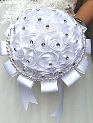 Wedding Flowers Round Roses Bouquets Wedding / Party/ Evening Satin / Silk / Bead / Rhinestone