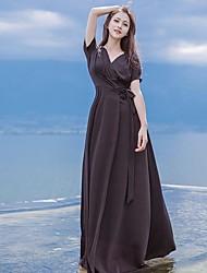Damen Swing Kleid-Strand Solide V-Ausschnitt Maxi Kurzarm Seide Sommer Mittlere Hüfthöhe Mikro-elastisch Dünn