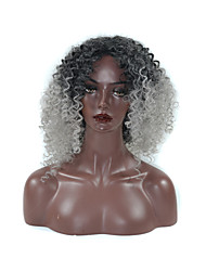 Heat Resistant Synthetic Short CUrly Ombre Gray Hair Afro Kinky Curly Wigs For Women HOT