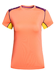 Femme Tee-shirt Camping / Randonnée Respirable Séchage rapide Design Anatomique Printemps Eté Orange Rouge de Rose Violet