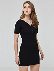 Women's Sexy Buttons Closure Solid Sheath Dress,Deep V Neck Mini Cotton / Spandex Short Dress