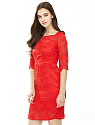 Women's Lace Plus Size Going out Sexy Bodycon Dress,Solid Lace Square Neck Knee-length ¾ Sleeve Polyester Blue Red Spring Summer Mid Rise