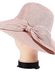 UV Bow Dome Seaside Summer Straw Hat Folding Beach Hat Cap
