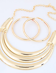 Jewelry Set Euramerican Fashion Punk Alloy Circle Gold 1 Necklace 1 Pair of Earrings For Party 1 Set