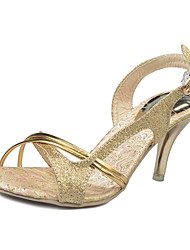 Для женщин Обувь на каблуках Обувь через палец Полиуретан Лето Повседневные Обувь через палец Стразы На шпилькеСеребряный