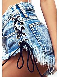 Damen Mittlere Hüfthöhe Micro-elastisch Jeans Schlank Hose,Quaste einfarbig