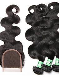 Tissages de cheveux humains Cheveux Brésiliens Ondulation naturelle 18 Mois 4 Pièces tissages de cheveux