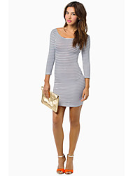 Women's Going out Beach Sexy Bodycon Dress,Striped Round Neck Mini Long Sleeve Cotton Spring Summer Low Rise Micro-elastic Medium