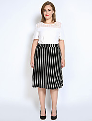 Really Love Women's Midi Skirts,Sexy Vintage Simple A Line Stripe Knitting Striped
