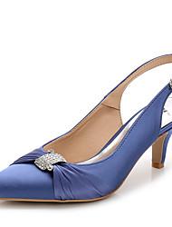 Women's Heels Summer Fall Slingback Club Shoes Silk Nylon Wedding Office & Career Party & Evening Dress Casual Stiletto HeelRhinestone