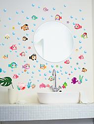 Cartoon Bubble Fish Bathroom Decoration Wall Stickers