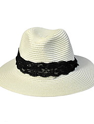Lace Summer Straw Hat Cap Round Wide Brim Hawaii Folding Soft Sun Hat Casual Foldable Brimmed Beach Hats For Women