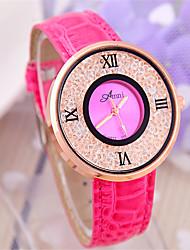 Mulheres Relógio de Moda Chinês Quartzo PU Banda Preta Rosa Roxa