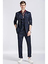 Terno slim fit flat collar único breasted one-button hit cor 3 peças