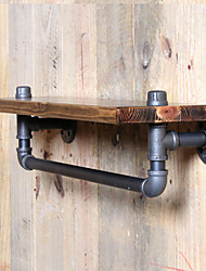 Towel Racks & Holders Country Wool Industrial Pipe Shelf Shelving Pine Wood and Pipe Towel Rack