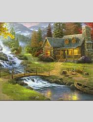 Ручная роспись Пейзаж Горизонтальная Панорамный,Modern Классика 1 панель Холст Hang-роспись маслом For Украшение дома