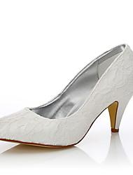 Feminino-Sapatos De Casamento-Conforto Sapatos clube Sapatos Dyeable-Salto Cone-Ivory-Seda Tule-Casamento Ar-Livre Escritório & Trabalho