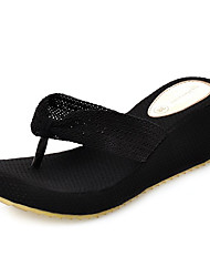 Women's Slippers & Flip-Flops Spring Summer Comfort Light Soles Linen Outdoor Dress Casual Wedge Heel Platform Braided Strap Beige Black
