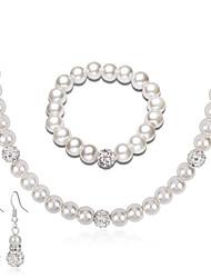 Collier de perles Mode euroaméricains Perle Strass Alliage Forme Ronde 1 Collier 1 Paire de Boucles d'Oreille 1 Bracelet PourMariage
