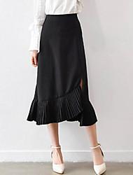 Women's High Rise Midi Skirts A Line Trumpet/Mermaid Solid