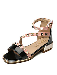Girls' Sandals Summer Comfort Leatherette Outdoor Office & Career Party & Evening Casual Flat Heel Rivet Magic Tape Gray Black