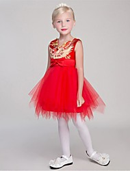 JUEXIU Bridal A-line Knee-length Flower Girl Dress - Organza Satin Chiffon V-neck with Embroidery