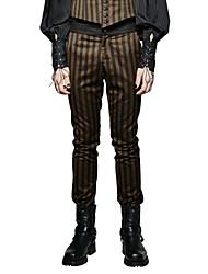Homme Vintage Street Chic Punk & Gothic Taille Normale Micro-élastique Chino Entreprise Pantalon,Mince Rayé Blocs de Couleur