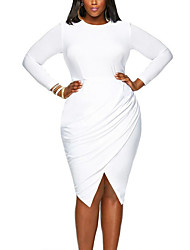 Women's Plus Size Party Club Sexy Simple Street chic Bodycon DressSolid Ruched Round Neck Asymmetrical Long Sleeve Spring Fall High Rise