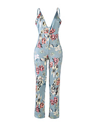 Women's Mid Rise Beach Club Jumpsuits,Sexy Straight Backless Floral Summer